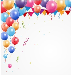 Happy Birthday greetings with balloon and confetti vector image vector image
