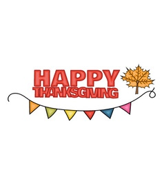Happy Thanksgiving Day banner sign with a mapple vector image vector image