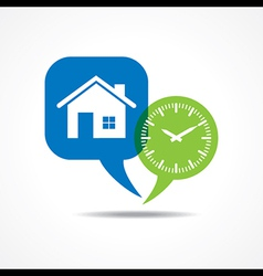 Home and clock in message bubble vector image
