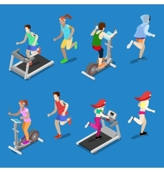 Isometric people running on treadmill in gym vector