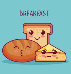 Kawaii breakfast design vector