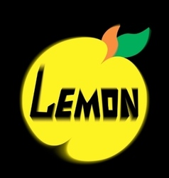 Logo lemon leave black background vector