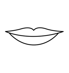 Monochrome contour of sensual lips vector