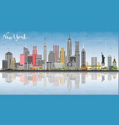 new york usa skyline with gray buildings blue sky vector image vector image