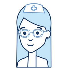Nurse with glasses avatar character vector
