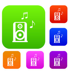portable music speacker set collection vector image vector image