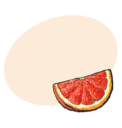 Quarter segment piece of ripe pink grapefruit vector