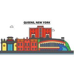 queens new york city skyline architecture vector image