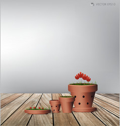 Red flower plant clay pot vector