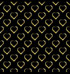 seamless pattern of gold hearts on black vector image vector image
