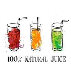 set of glasses with fruit juice vector image vector image