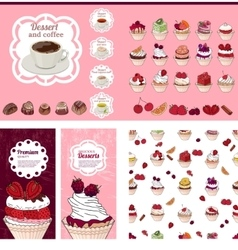 Template with different desserts with fruits For vector image