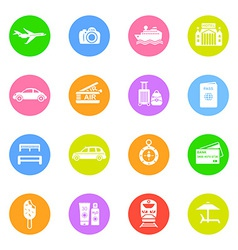 Travel icons in color circles vector image