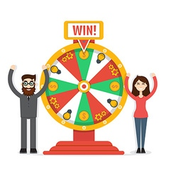 Wheel of fortune with man and woman vector