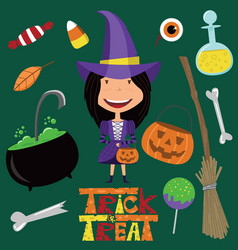 witch and halloween objects vector image vector image
