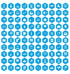 100 help desk icons set blue vector image
