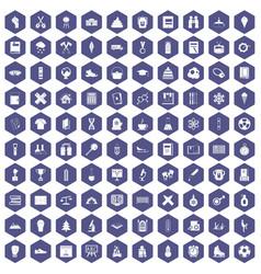 100 school years icons hexagon purple vector