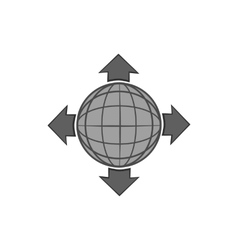 Planet and pointers icon black monochrome style vector