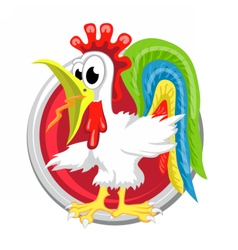 Rooster orient horoscope sign isolated in circle vector