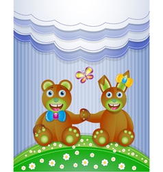 Colorful scrapbook with bunny and bear vector image
