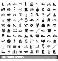 100 shoe icons set simple style vector