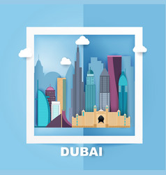Dubai skyline and landscape of buildings and vector