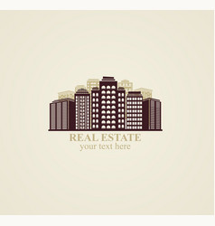 Icon real estate urban modern buildings vector