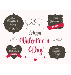 St valentine days labels elements arrows in retro vector