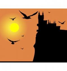 Bird sunset vector image