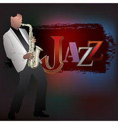 Abstract music with saxophone player and word jazz vector