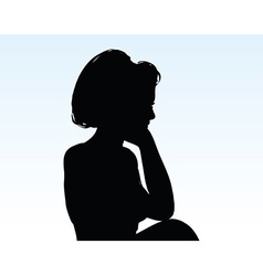 Woman silhouette with hand gesture thinking vector