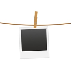 Retro photo frame hanging on a rope 01 vector