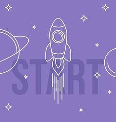 Rocket space linear design start up concept vector
