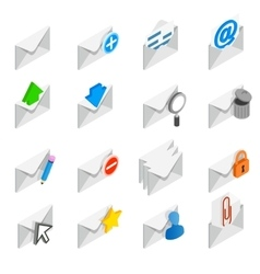 Mail icons set isometric 3d style vector