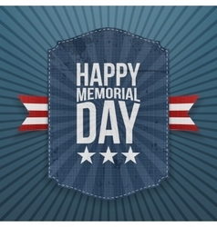 Happy memorial day realistic poster and ribbon vector