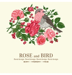 Vintage wedding card with bird vector