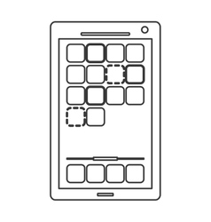 Modern cellphone with squares on screen icon line vector