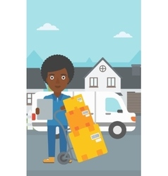 Delivery woman with cardboard boxes vector