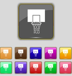 Basketball backboard icon sign set with eleven vector