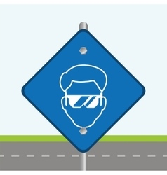 Blue road sign head worker construction vector