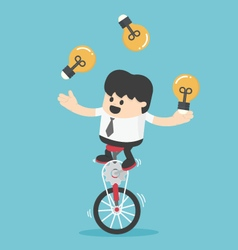 Businessman cycling juggling throwing a lamp vector