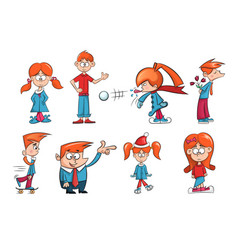 cartoon characters girl and boy ice snow skate vector image vector image