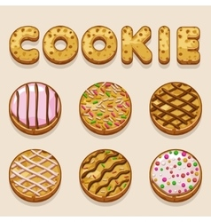Cartoon cookie biskvit food letters vector image vector image