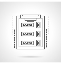 Checklist on clipboard flat line icon vector image