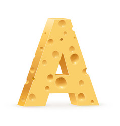 Cheese font a letter on white vector