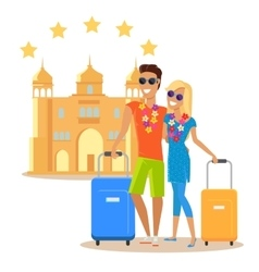 Couple summer vacation travel vector