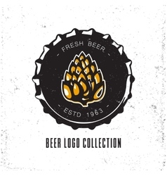Creative logo design with beer bottle cap vector image vector image