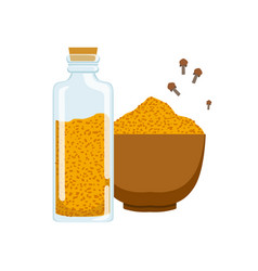 Curry powder in a wooden bowl and glass jar vector