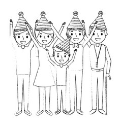 family wearing party hat with arms up birthday vector image