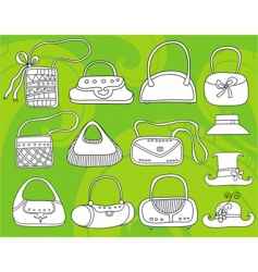 fashion bags doodles vector image